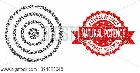 Vector Collage Concentric Circles Of Corona Virus, And Natural Potence Textured Ribbon Seal Print. V