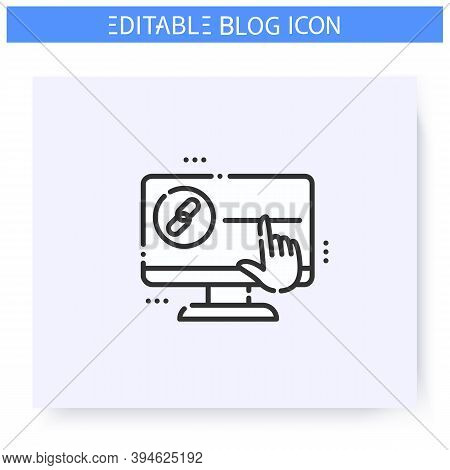 Link Line Icon. Hyperlink Chain. Blogging And Broadcasting. Content Management. Seo Optimization Lin