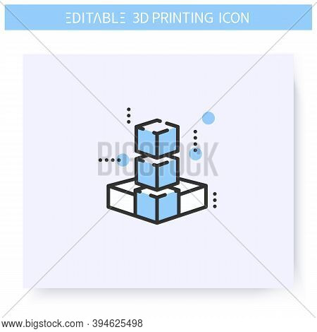 3d Model Line Icon. Three Dimensional Object. Finished Printed Product Or Item. Additive Manufacturi