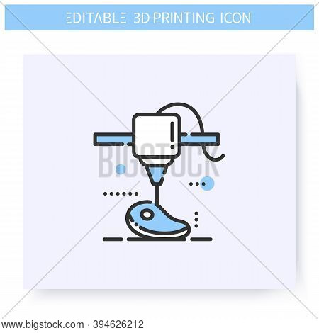 3d Printing Line Icon. Plant Based Innovative Steak Under Printing Head. 3d Printing In The Meat Bus