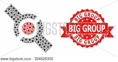 Vector Collage Connector Of Virus, And Big Group Rubber Ribbon Seal Imitation. Virus Items Inside Co