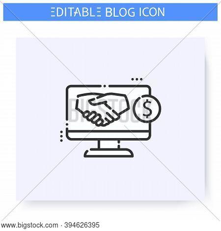 Sponsored Blog Line Icon. Blog Monetization. Promoted Content. Blogging And Broadcasting. Social Med