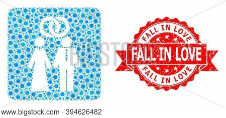 Vector Mosaic Marriage Persons Of Flu Virus, And Fall In Love Corroded Ribbon Stamp. Virus Items Ins