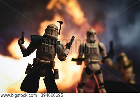 NOV 11 2020: Scene from Star Wars The Clone Wars with clone Captain Rex and troopers in battle - Hasbro action figures