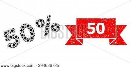 Vector Mosaic 50 Percents Of Flu Virus, And 50 Scratched Ribbon Seal Imitation. Virus Elements Insid
