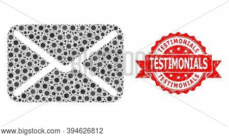 Vector Collage Letter Of Sars Virus, And Testimonials Corroded Ribbon Stamp Seal. Virus Elements Ins
