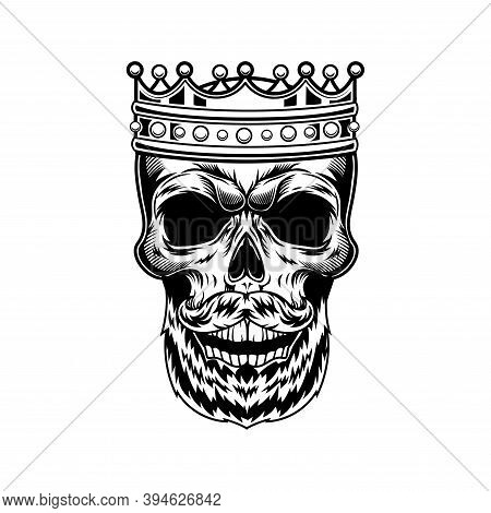 Skull Of Bearded King Vector Illustration. Head Of Skeleton With Royal Crown And Gems. Monarchy Or J
