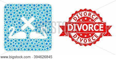 Vector Mosaic Divorce Swans Of Virus, And Divorce Unclean Ribbon Stamp. Virus Elements Inside Divorc