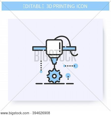 3d Printing Line Icon.new Detail Under Printing Head. 3d Printing In Mechanical Engineering.additive