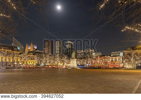 The Hague, The Netherlands - February 17 2019: The City Center, The Square Is Almost Empty, Atmosphe