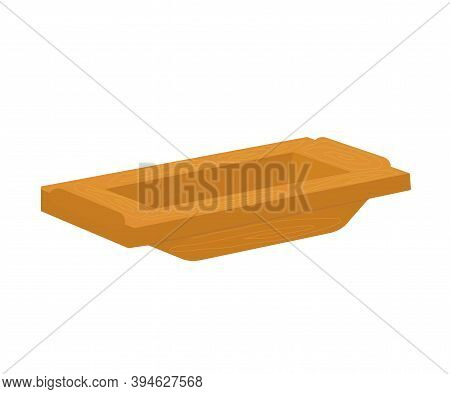 Empty Trough On A White Background. Cartoon. Vector Illustration.