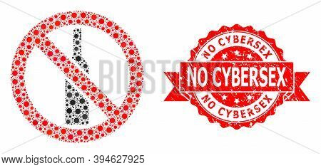 Vector Mosaic Forbidden Alcohol Of Virus, And No Cybersex Rubber Ribbon Stamp. Virus Particles Insid