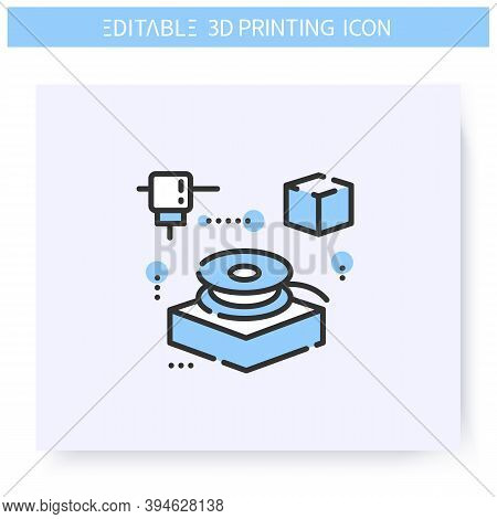 3d Filament Line Icon. Filament Spool. Thermoplastic 3d Printing Feedstock. Additive Manufacturing,