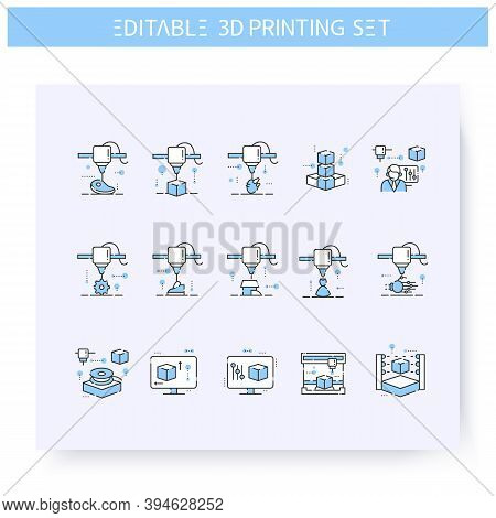 3d Printing Line Icons Set Line Icon. 3d Modeling And Rendering Process. Additive Manufacturing, Fab