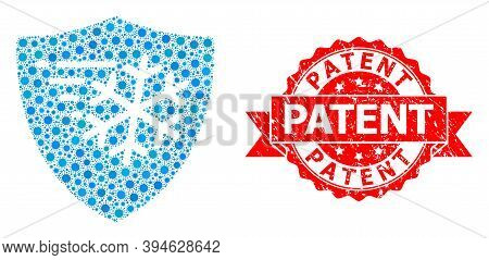 Vector Mosaic Frost Protection Of Flu Virus, And Patent Textured Ribbon Stamp. Virus Items Inside Fr