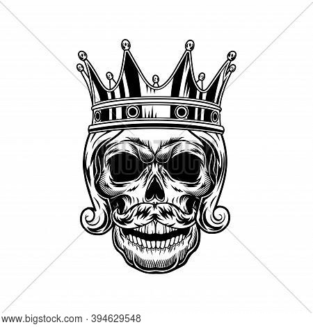 Skull Of Medieval King Vector Illustration. Head Of Skeleton In Royal Crown. Monarchy Or Jewelry Con