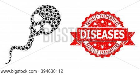 Vector Collage Dead Sperm Of Virus, And Sexually Transmitted Diseases Rubber Ribbon Seal Imitation.