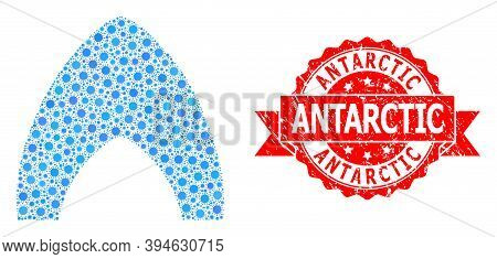 Vector Mosaic Igloo Home Of Flu Virus, And Antarctic Textured Ribbon Seal. Virus Items Inside Igloo
