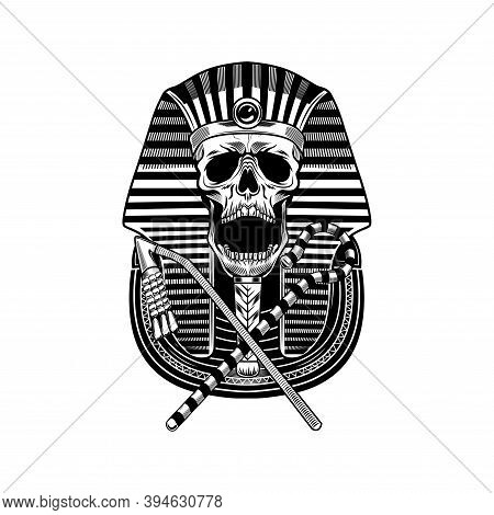 Pharaoh Skull And Canes Vector Illustration. Egyptian Mummy, Skeleton With Accessory, Death Symbol.