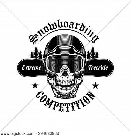 Skull Of Snowboarder Vector Illustration. Head Of Skeleton In Helmet, Extreme Freeride Text On Board