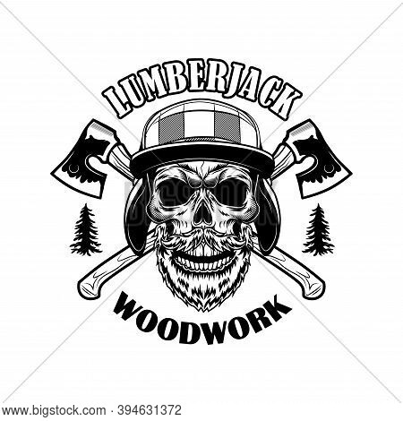 Bearded Lumberjack Skull Vector Illustration. Head Of Skeleton With Crossed Axes And Woodwork Text.
