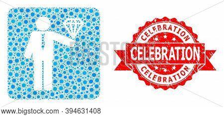 Vector Mosaic Groom Diamond Of Sars Virus, And Celebration Scratched Ribbon Stamp Seal. Virus Elemen