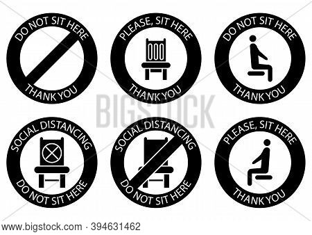 Do Not Sit Here. Forbidden Icons For Seat. Safe Social Distancing When Sitting In A Public Chair. Gl