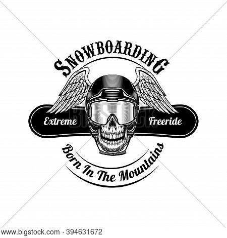Skull Of Snowboarder With Wings Vector Illustration. Head Of Skeleton In Helmet, Extreme Freeride Te
