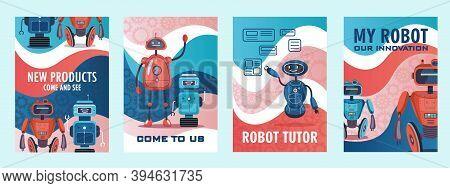 Robots Show Invitation Flyers Set. Humanoids, Cyborgs, Intelligent Machines Vector Illustrations Wit