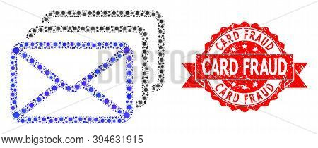 Vector Collage Mail Queue Of Virus, And Card Fraud Corroded Ribbon Stamp Seal. Virus Elements Inside