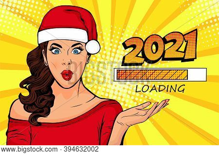Waiting For New Year. Brunette Girl Looking At 2021. Pop Art Retro Comic Style Vector Illustration.