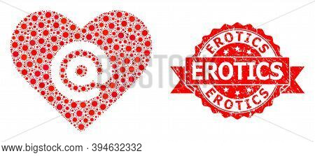 Vector Mosaic Dating Heart Address Of Virus, And Erotics Scratched Ribbon Seal Print. Virus Elements
