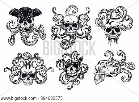 Head Of Skeleton With Tentacles Vector Illustrations Set. Octopus In Pirate Skull. Sea Life Or Death