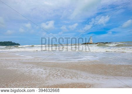 Khao Lak Lighthouse At Phang Nga Province. Lighthouse Located In The Middle Of The Sea, Hightlight O