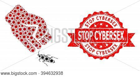 Vector Mosaic Cockroach Punch Of Flu Virus, And Stop Cybersex Textured Ribbon Stamp Seal. Virus Part