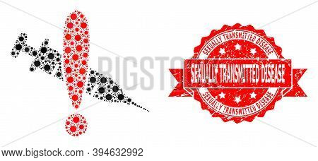 Vector Collage Danger Vaccine Of Virus, And Sexually Transmitted Disease Grunge Ribbon Seal Imitatio
