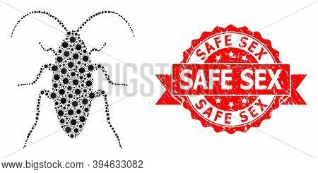 Vector Mosaic Cockroach Of Covid-2019 Virus, And Safe Sex Corroded Ribbon Stamp. Virus Items Inside