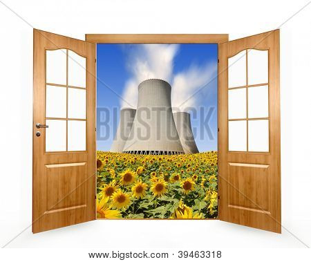 Open the door to the sunflower field with nuclear power plant