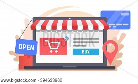 Laptop With Electronic Commerce Icons. Vector Online Shopping Illustration