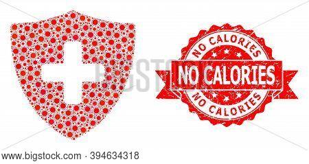 Vector Mosaic Medical Shield Of Covid-2019 Virus, And No Calories Grunge Ribbon Seal. Virus Elements