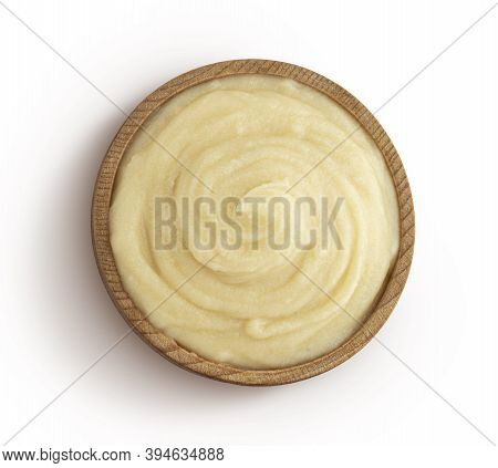 Mashed Potato Puree In Wooden Bowl Isolated On White Background, Top View