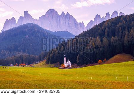 Famous And Charming Village Of Santa Maddalena In The Background Of The Odle Mountain Range, Funes V