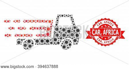Vector Collage Delivery Car Chassi Of Sars Virus, And Car, Africa Unclean Ribbon Seal. Virus Cells I