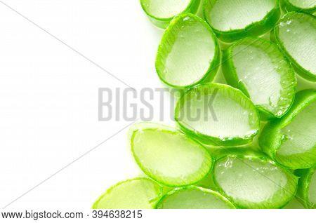 Aloe Vera Slices Top View On White Background. - Image