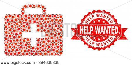 Vector Mosaic Medical Kit Case Of Flu Virus, And Help Wanted Rubber Ribbon Stamp. Virus Particles In