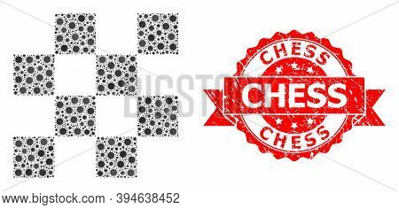 Vector Mosaic Chess Cells Of Covid-2019 Virus, And Chess Rubber Ribbon Stamp Seal. Virus Elements In