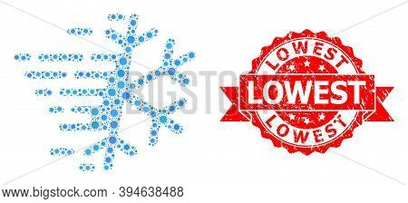 Vector Collage Frost Snowflake Of Covid-2019 Virus, And Lowest Corroded Ribbon Stamp Seal. Virus Par