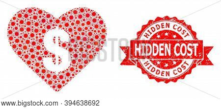 Vector Mosaic Love Price Of Sars Virus, And Hidden Cost Dirty Ribbon Stamp Seal. Virus Items Inside