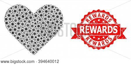 Vector Mosaic Love Heart Of Sars Virus, And Rewards Grunge Ribbon Stamp. Virus Cells Inside Love Hea