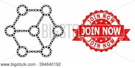 Vector Mosaic Blockchain Of Virus, And Join Now Scratched Ribbon Stamp Seal. Virus Elements Inside B
